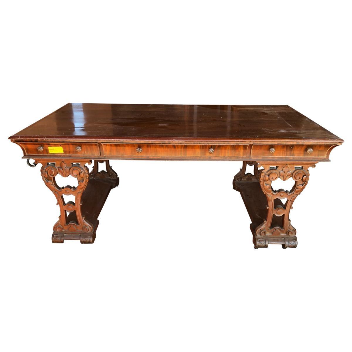 19th Century Victorian Mahogany Desk, 1860s
