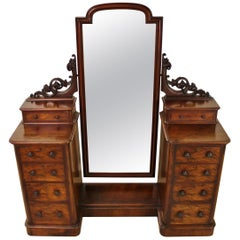 19th Century Victorian Mahogany Dressing Chest and Mirror