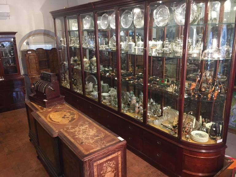 19th Century Victorian Mahogany English Shop Display Cabinet , 1890s For Sale 7