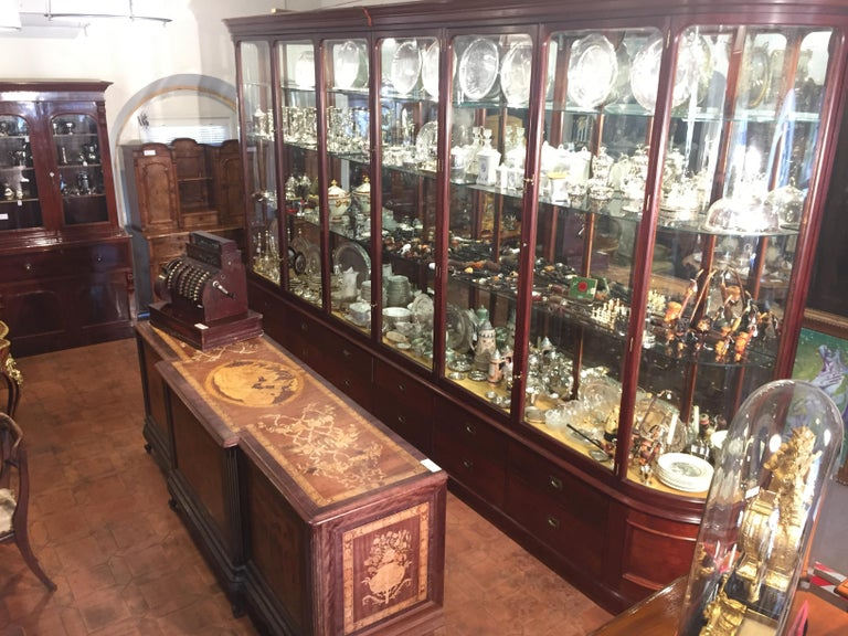 Fantastic shop display cabinet, in mahogany, 12 draws, original ironware. Patented bronze handles, doors with anti-dust system, completely dismountable into several pieces. Lighting system put in the 1980s. Original glass, in perfect condition, the
