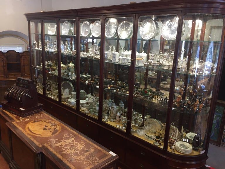 Late Victorian 19th Century Victorian Mahogany English Shop Display Cabinet , 1890s For Sale