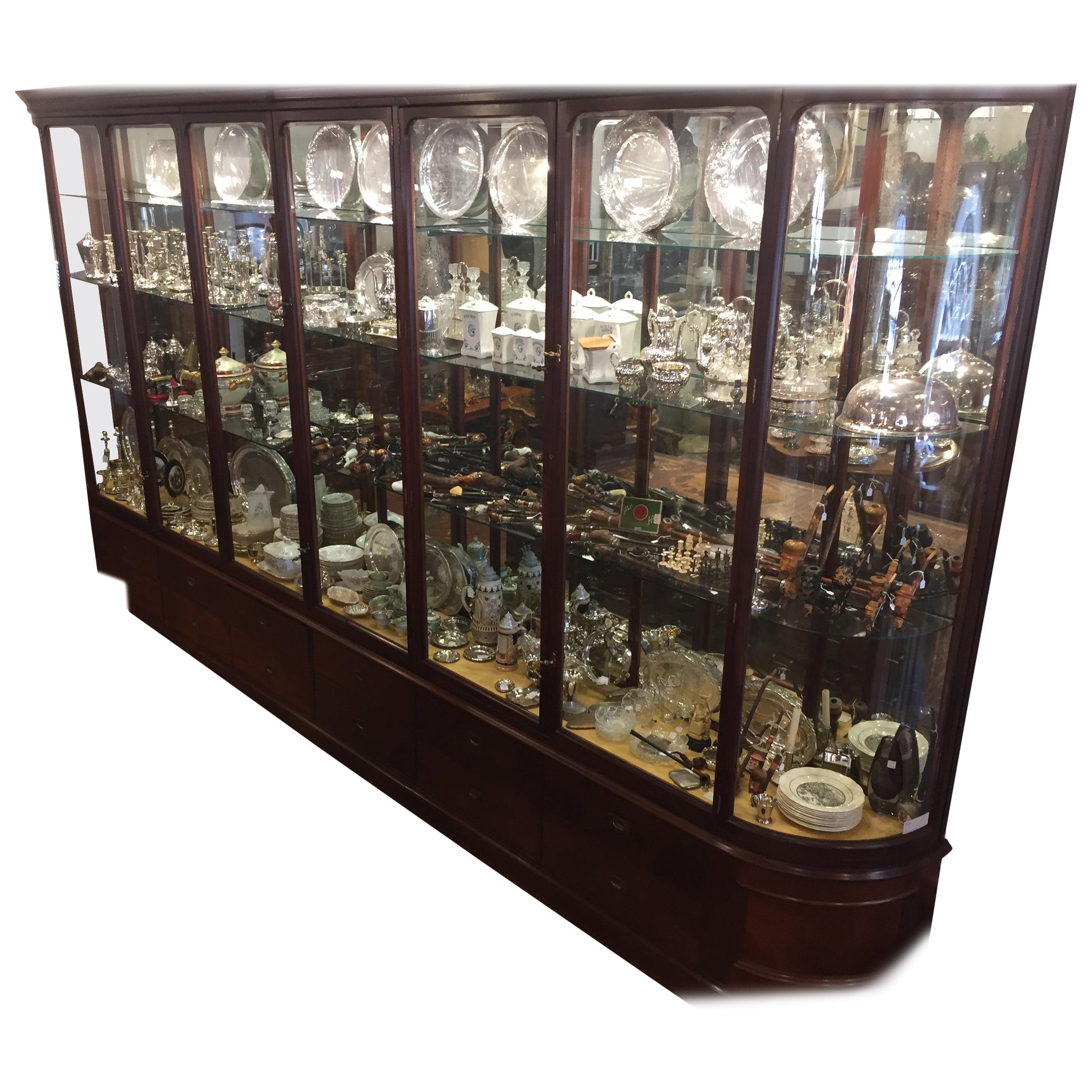 19th Century Victorian Mahogany English Shop Display Cabinet , 1890s