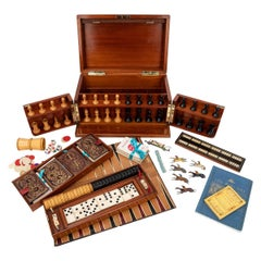 19th Century Victorian Mahogany Games Compendium, Cards & Board Games c.1890