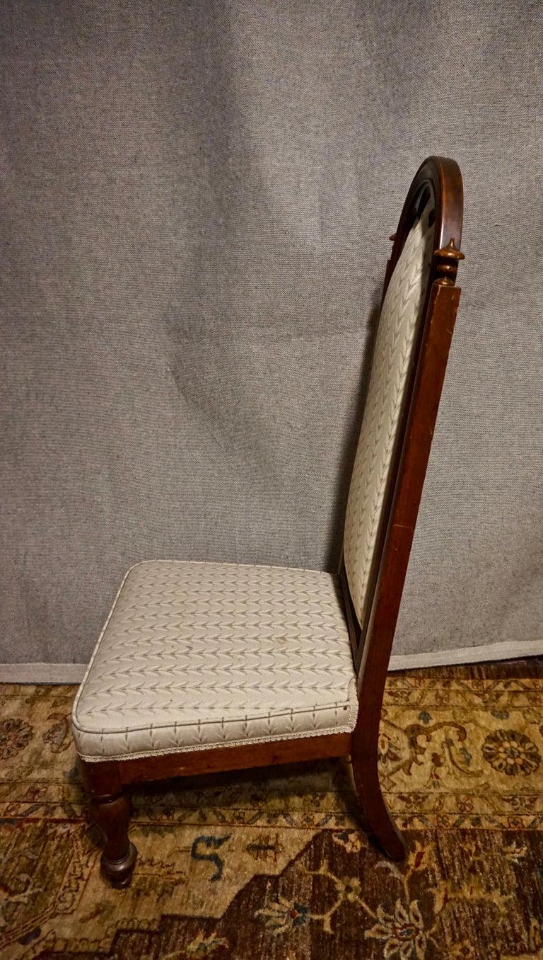 19th Century Victorian Mahogany Gothic Prayer Slipper Chair For Sale 6