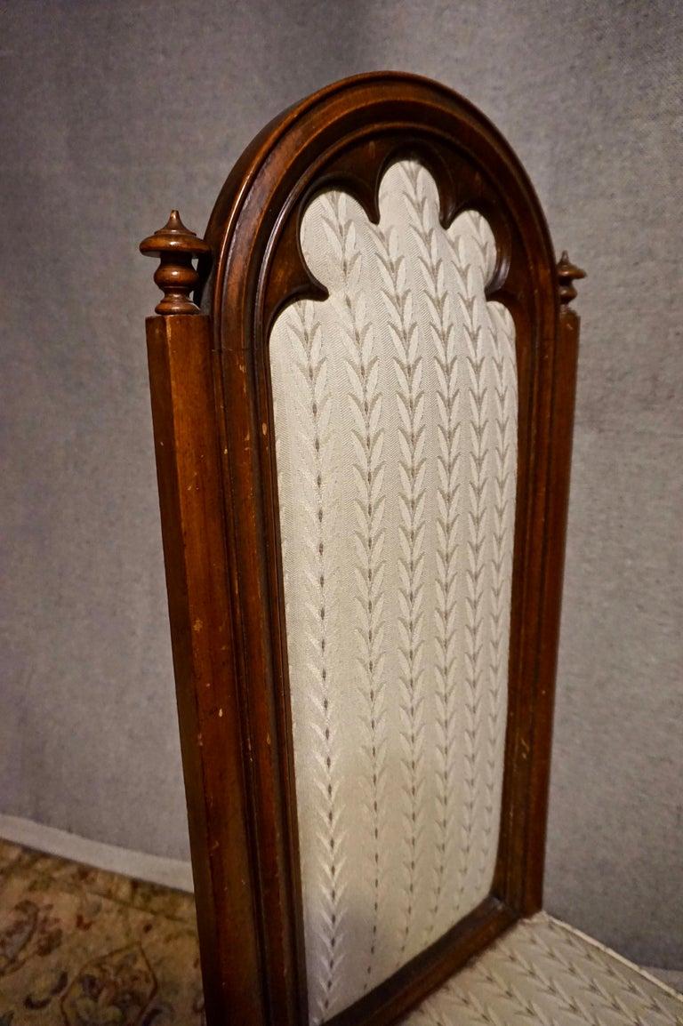 19th Century Victorian Mahogany Gothic Prayer Slipper Chair For Sale 2