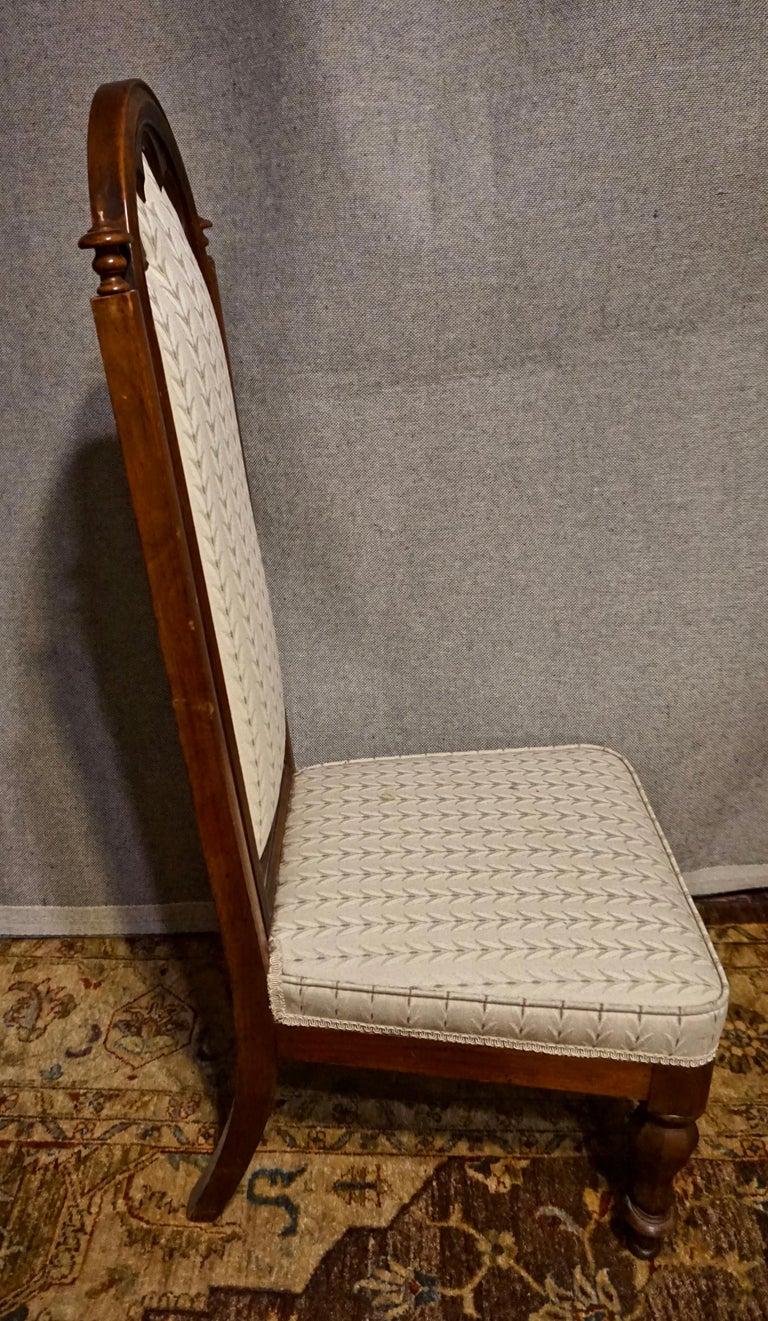 19th Century Victorian Mahogany Gothic Prayer Slipper Chair For Sale 3