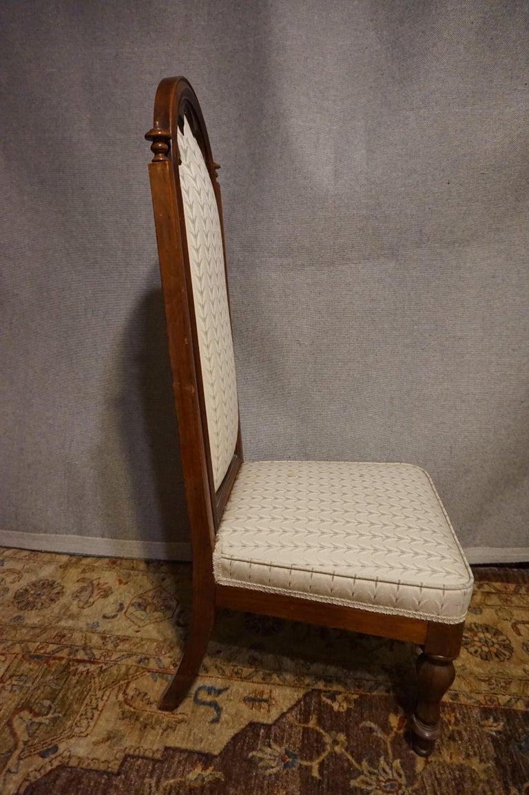 19th Century Victorian Mahogany Gothic Prayer Slipper Chair For Sale 4