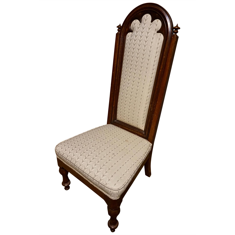 19th Century Victorian Mahogany Gothic Prayer Slipper Chair