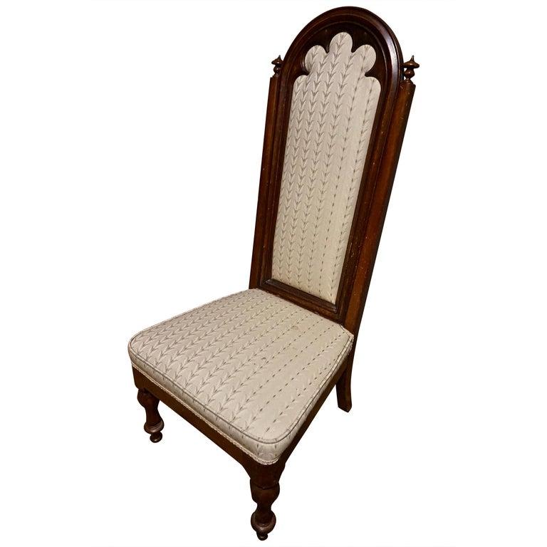 19th Century Victorian Mahogany Gothic Prayer Slipper Chair For Sale
