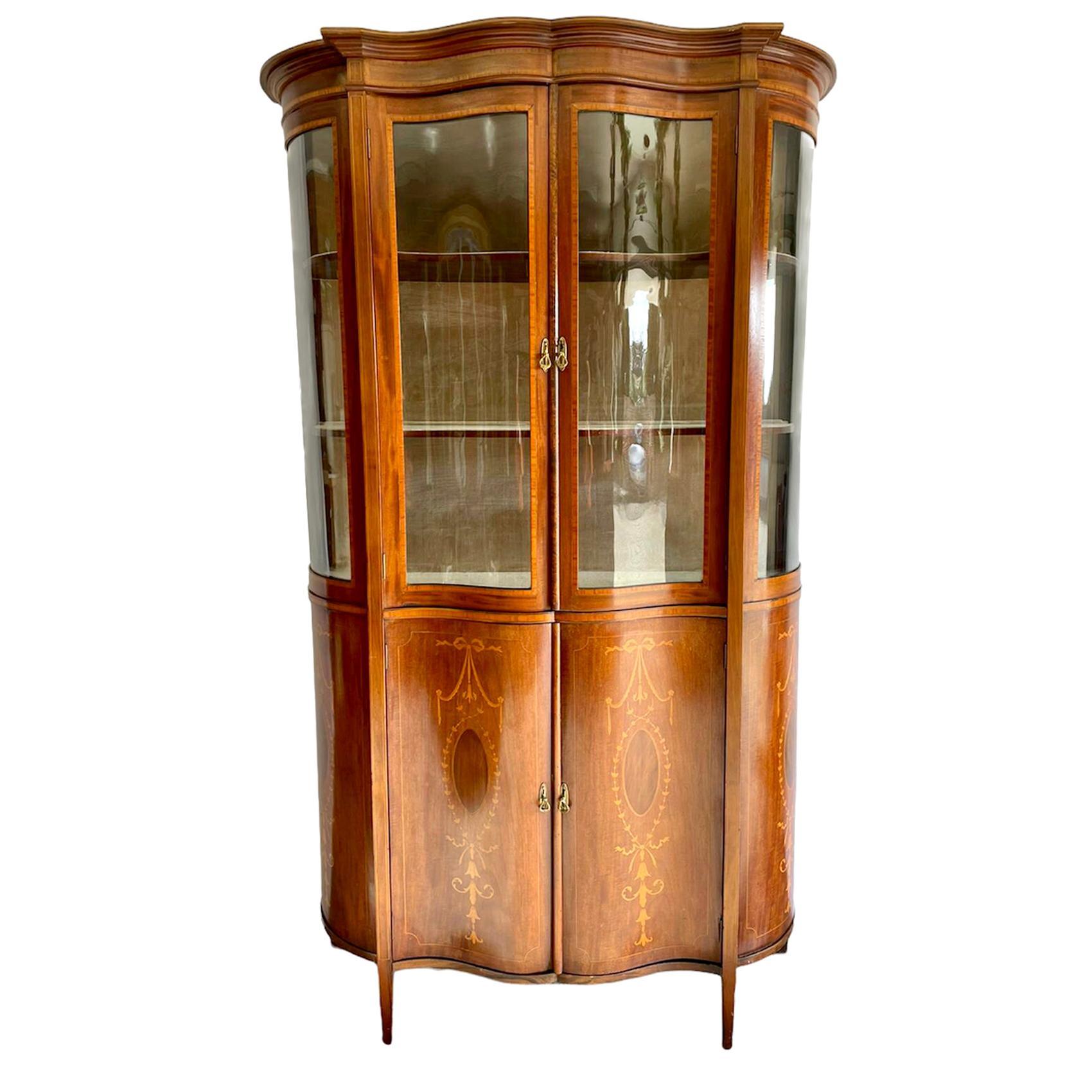 19th Century Victorian Mahogany Inlaid Serpentine Shaped Display Cabinet