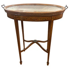 19th Century Victorian Mahogany Painted Tray Table End Table, 1870