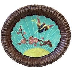 19th Century Victorian Majolica Bird and Prunus Platter
