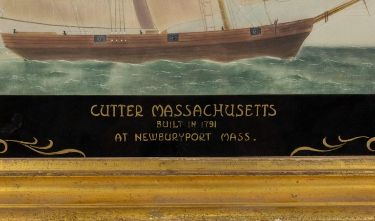 19th century nautical watercolor painting depicting the Cutter Massachusetts built at Newbury port in the Commonwealth of Massachusetts in the year 1791. Watercolor seascape with reverse painted and gilt glass border with scrolling decoration and