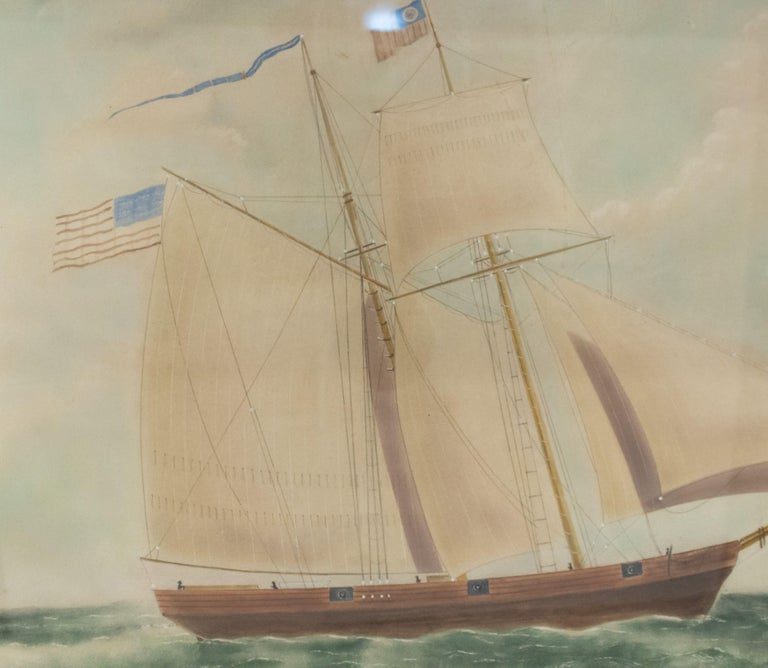 American 19th Century Victorian Nautical Watercolor Depicting the Cutter Massachusetts For Sale