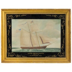 19th Century Victorian Nautical Watercolor Depicting the Cutter Massachusetts