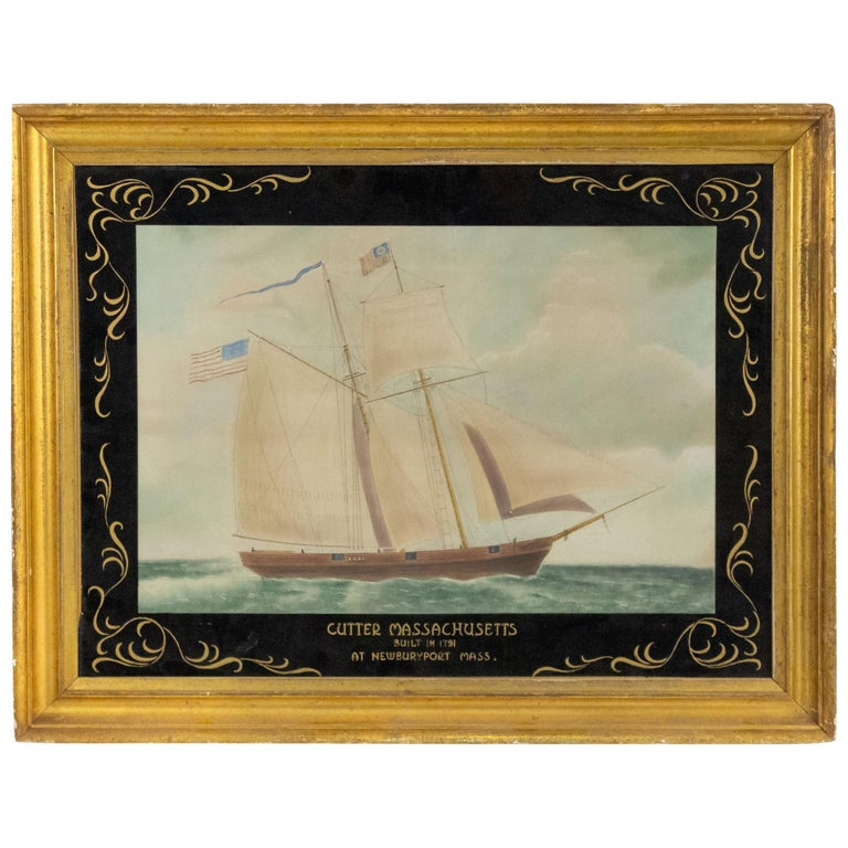19th Century Victorian Nautical Watercolor Depicting the Cutter Massachusetts For Sale