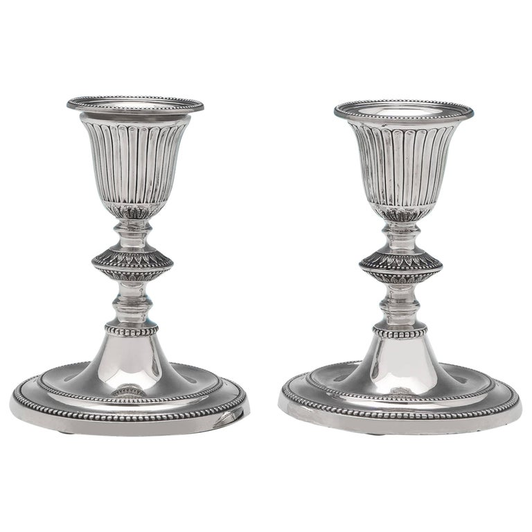 19th Century Victorian Neoclassical Revival Sterling Silver Pair of Candlesticks