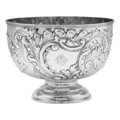 19th Century Victorian Ornate Chased Antique Sterling Silver Bowl