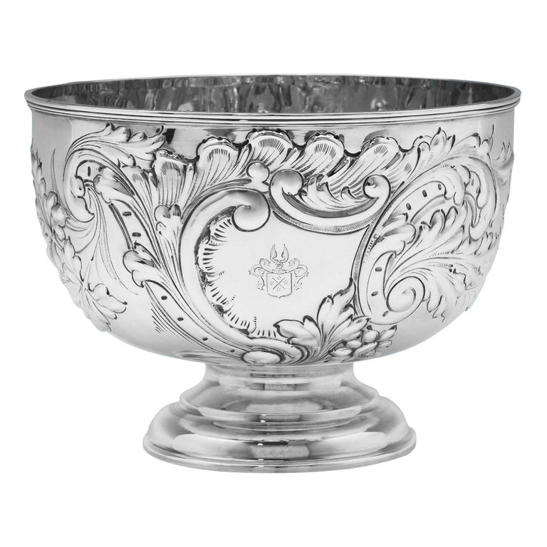 19th Century Victorian Ornate Chased Antique Sterling Silver Bowl For Sale