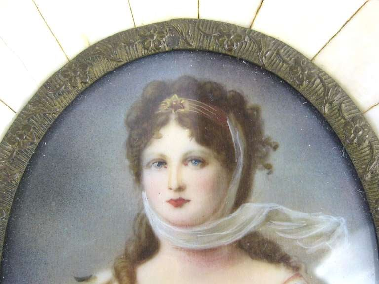 Unknown 19th Century Victorian Painted on Porcelain with a Bone Frame Portrait Miniature For Sale