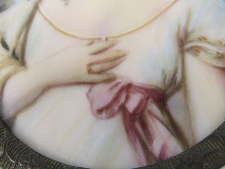 19th Century Victorian Painted on Porcelain with a Bone Frame Portrait Miniature In Good Condition For Sale In Wallkill, NY