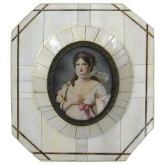 19th Century Victorian Painted on Porcelain with a Bone Frame Portrait Miniature