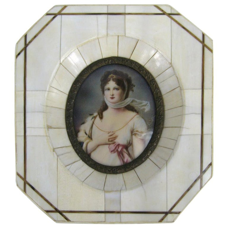 19th Century Victorian Painted on Porcelain with a Bone Frame Portrait Miniature For Sale