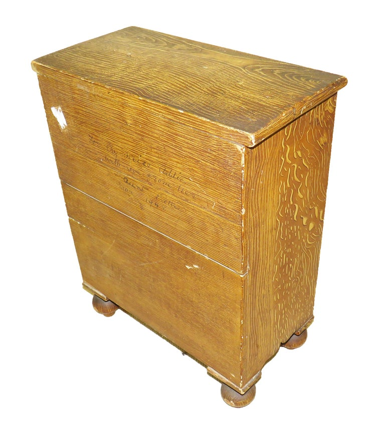 19th Century Victorian Painted Pine Miniature Apprentice Chest of Drawers In Good Condition For Sale In Bedfordshire, GB