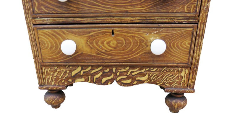 19th Century Victorian Painted Pine Miniature Apprentice Chest of Drawers For Sale 1