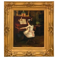 "19th Century Victorian Painting ""Evening Recital"""
