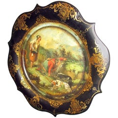 19th century Victorian Papier Mâché Decorative Plate with Scottish Hunting Scene