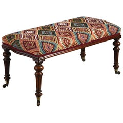 19th Century Victorian Period Upholstered Walnut Long Stool