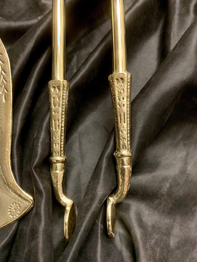 19th Century Victorian Polished Brass Fire Tools For Sale 2