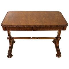 19th Century Victorian Pollard Oak Library Stretcher Table