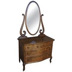 19th Century Victorian Quartersawn Oak Mirrored Dresser Chest Vanity Wash Stand