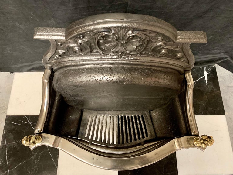 19th Century Victorian Rococo Style Cast Iron and Brass Fire Grate For Sale 3