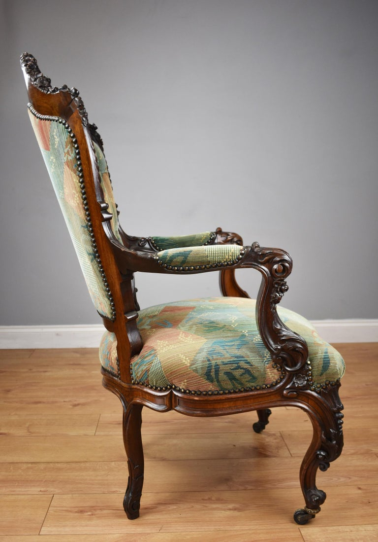 19th Century Victorian Rosewood Carved Armchair For Sale ...
