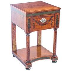 19th Century Victorian Satinwood Pedestal Bedside Cabinet