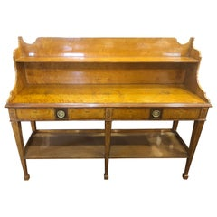 19th Century Victorian Satinwood Serving Table Étagère Dresser, 1860s