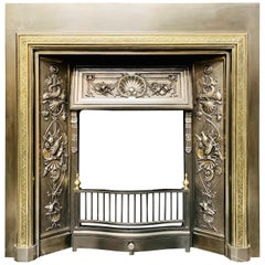 19th Century Victorian Scottish Brass and Polished Cast Iron Fireplace Insert