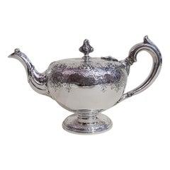 19th Century Victorian Scottish Sterling Silver Teapot, Edinburgh, 1846