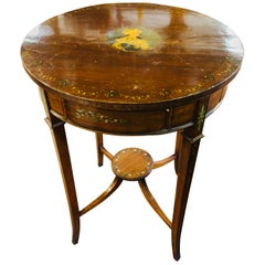19th Century Victorian Sheraton Satinwood Painted Round Table with Secret, 1880s