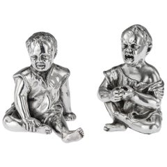19th Century Victorian Silver Figurative Salt and Pepper, London, circa 1886