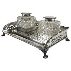 19th Century Victorian Silver Inkstand Sheffiels 1897 by Harry Wright Atkin