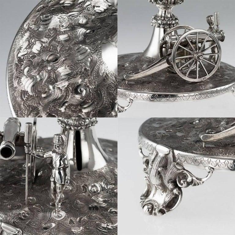 19th Century Victorian Silver Royal Artillery Centrepiece, circa 1874 For Sale 3