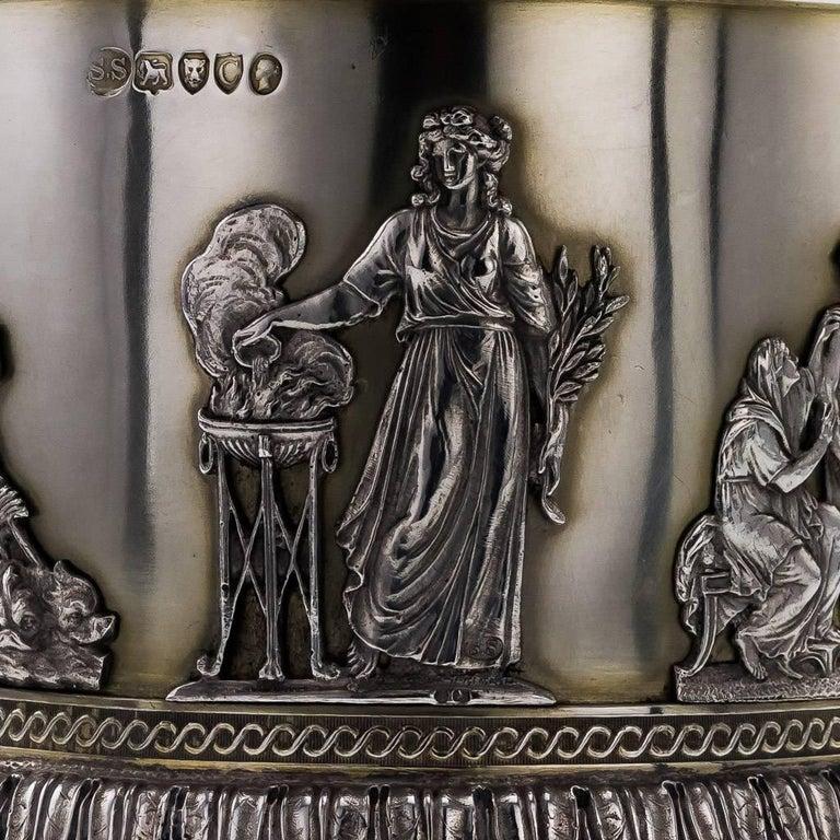 19th Century Victorian Solid Silver 3-Piece Centerpiece Garniture, Stephen Smith For Sale 4