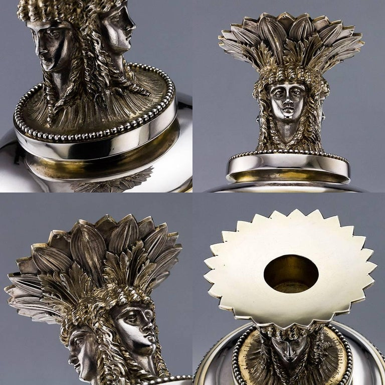 19th Century Victorian Solid Silver 3-Piece Centerpiece Garniture, Stephen Smith In Good Condition For Sale In London, London