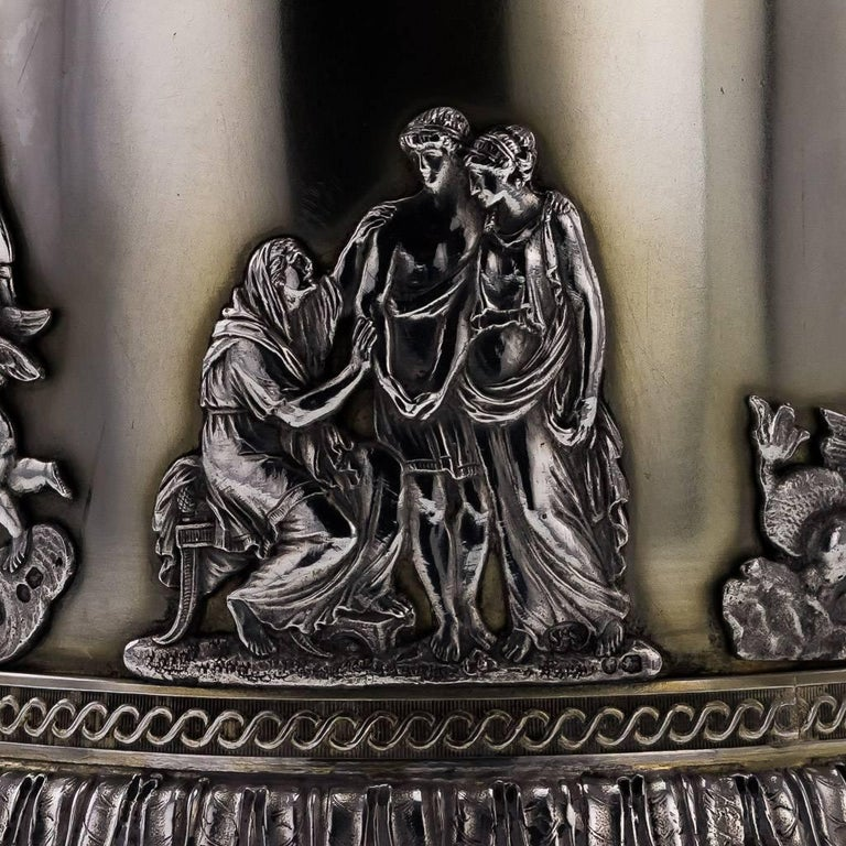 19th Century Victorian Solid Silver 3-Piece Centerpiece Garniture, Stephen Smith For Sale 1