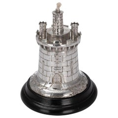 19th Century Victorian Solid Silver Guard Tower Table Lighter, London, c.1878