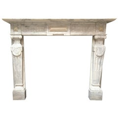 19th Century Victorian Statuary Marble Fireplace Mantelpiece